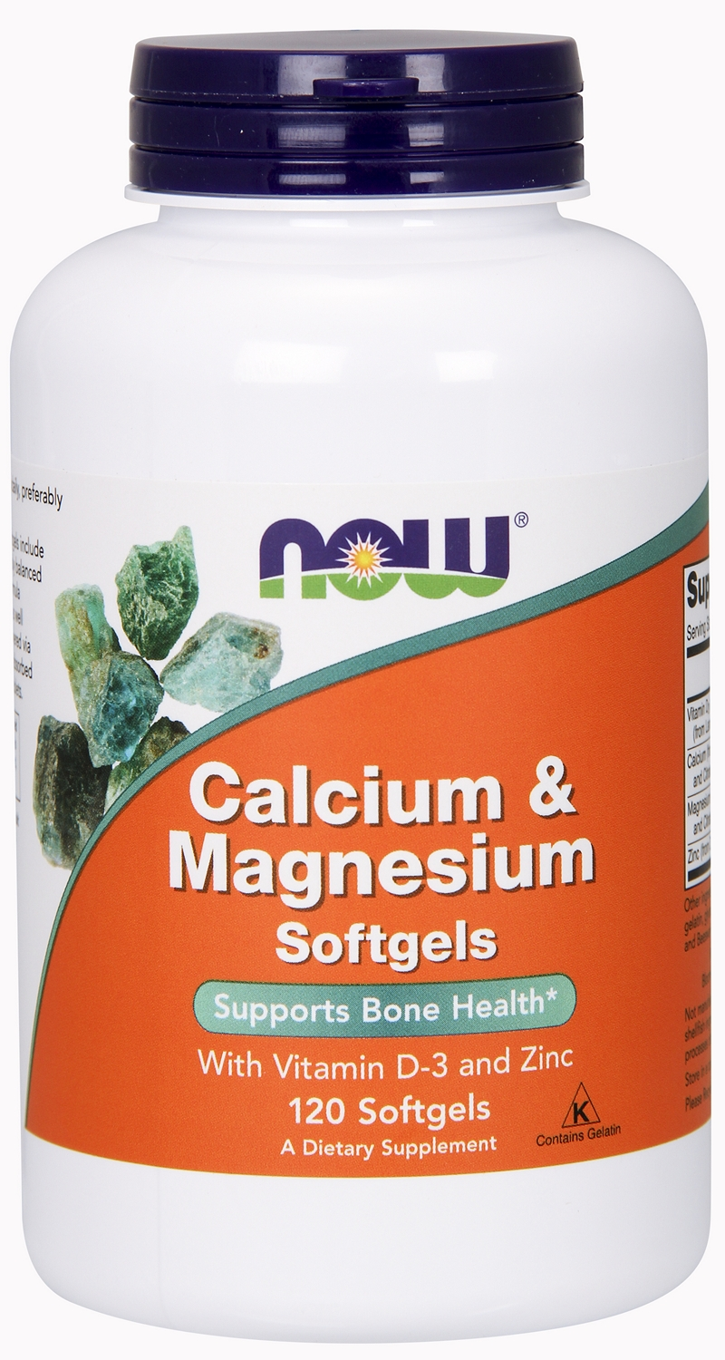 Calcium & Magnesium w/ Vitamin D and Zinc 120 sgels by NOW Foods