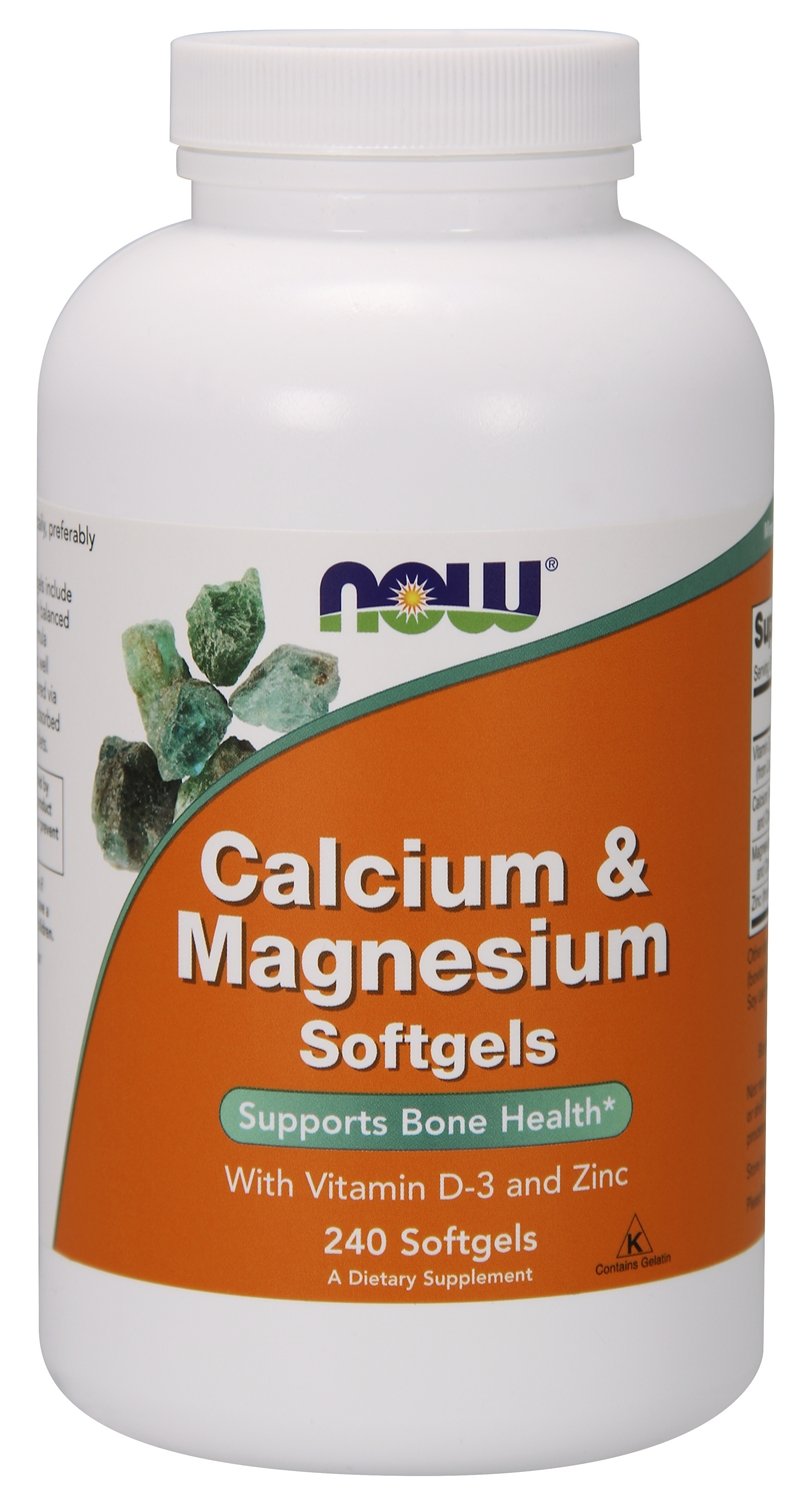 Calcium and Magnesium w/ Vitamin D and Zinc 240 sgels by NOW