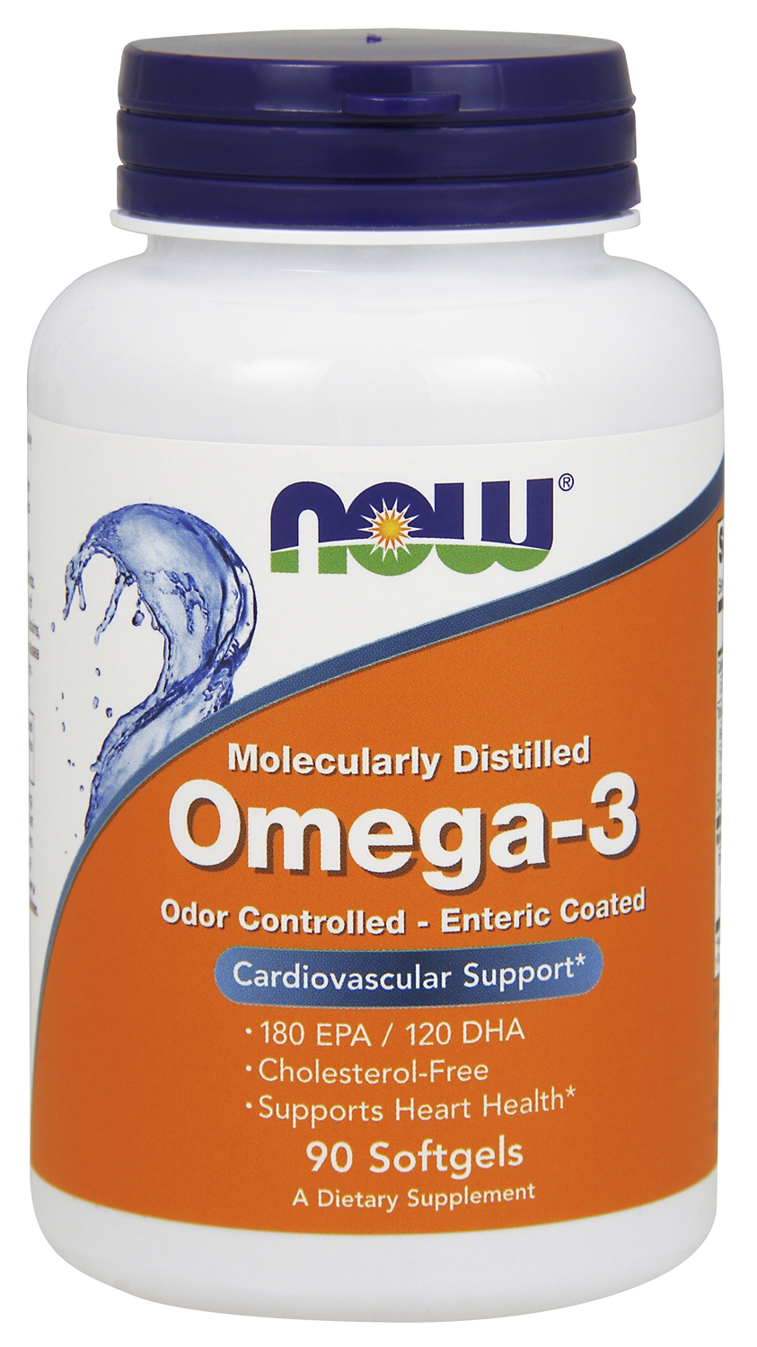 Omega-3 (Molecularly Distilled) 1000 mg 180 sgels by NOW