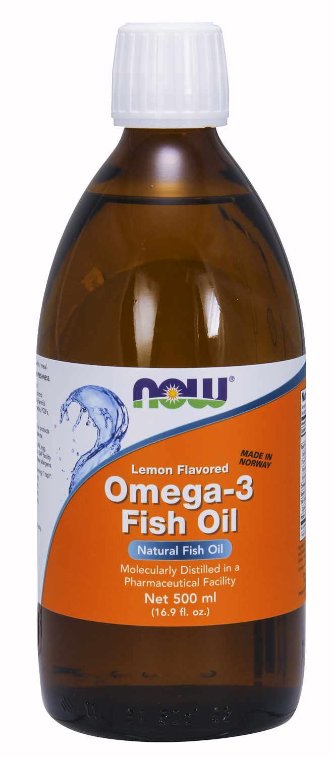 Omega-3 Fish Oil Lemon Flavored 16.9 fl oz (500 ml) by NOW