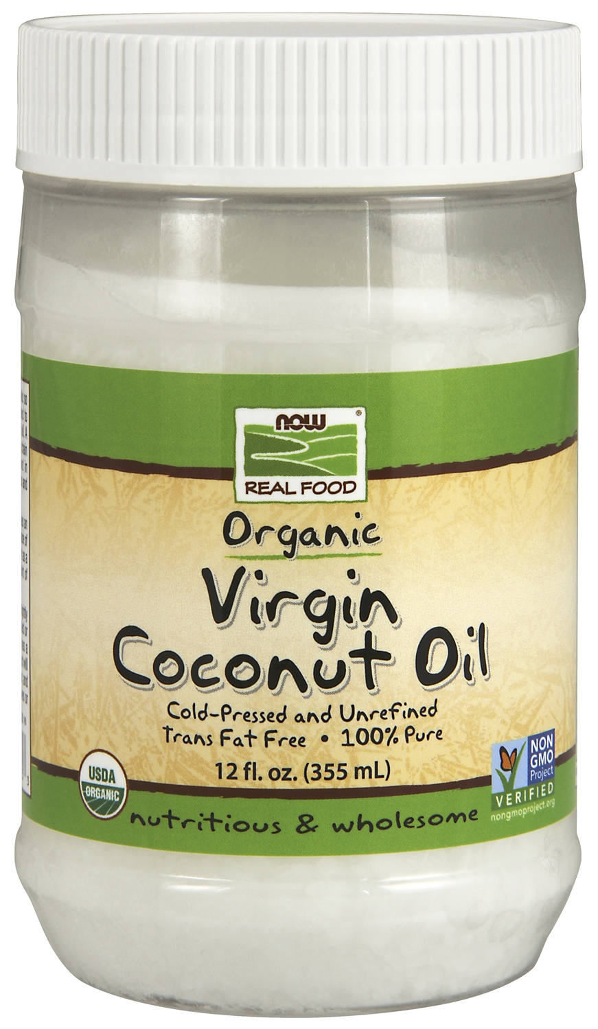 Virgin Coconut Oil Certified Organic 12 oz (355 ml) by NOW