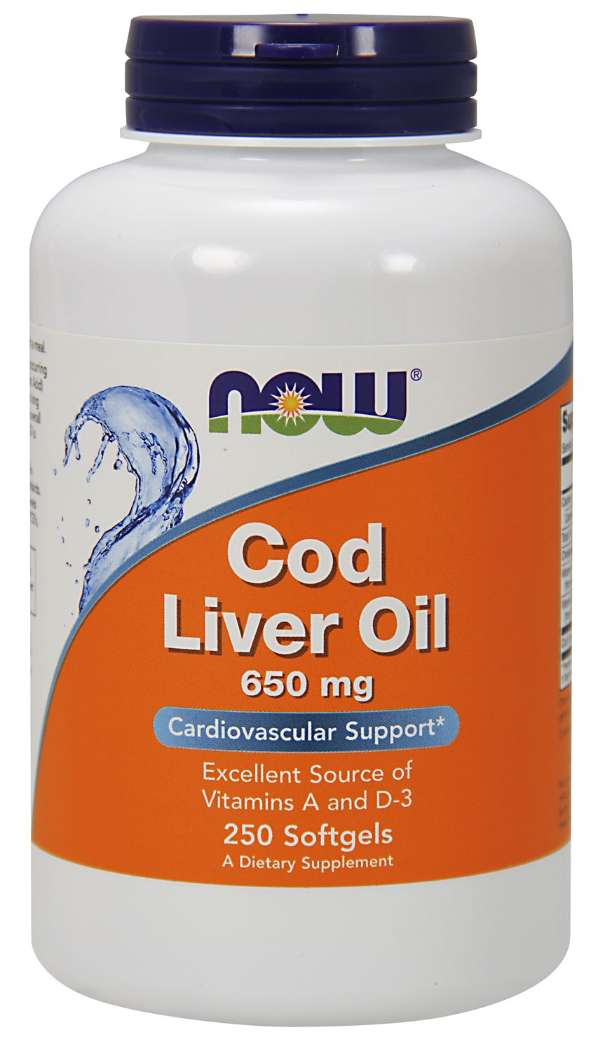 Cod Liver Oil Double Strength 650 mg 250 sgels by NOW