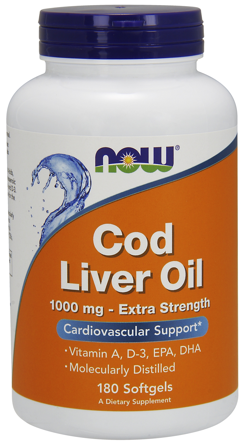Cod Liver Oil 1,000 mg Extra Strength 180 sgels by NOW (expires 11/2015)