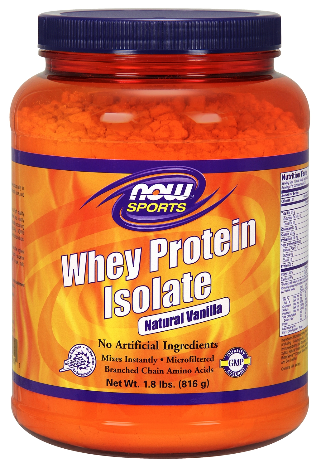 Whey Protein Isolate Natural Vanilla 1.8 lbs (816 g) by NOW