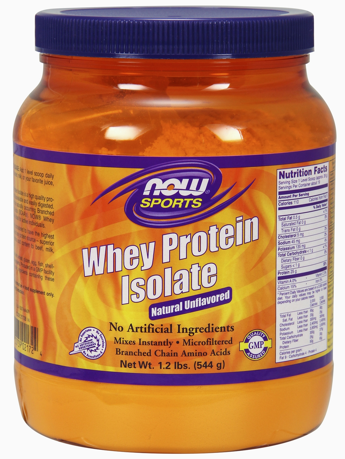 Whey Protein Isolate Unflavored 1.2 lb (544 g) by NOW