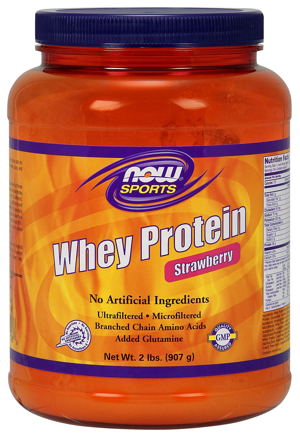 Whey Protein Strawberry 2 lbs (908 g) by NOW