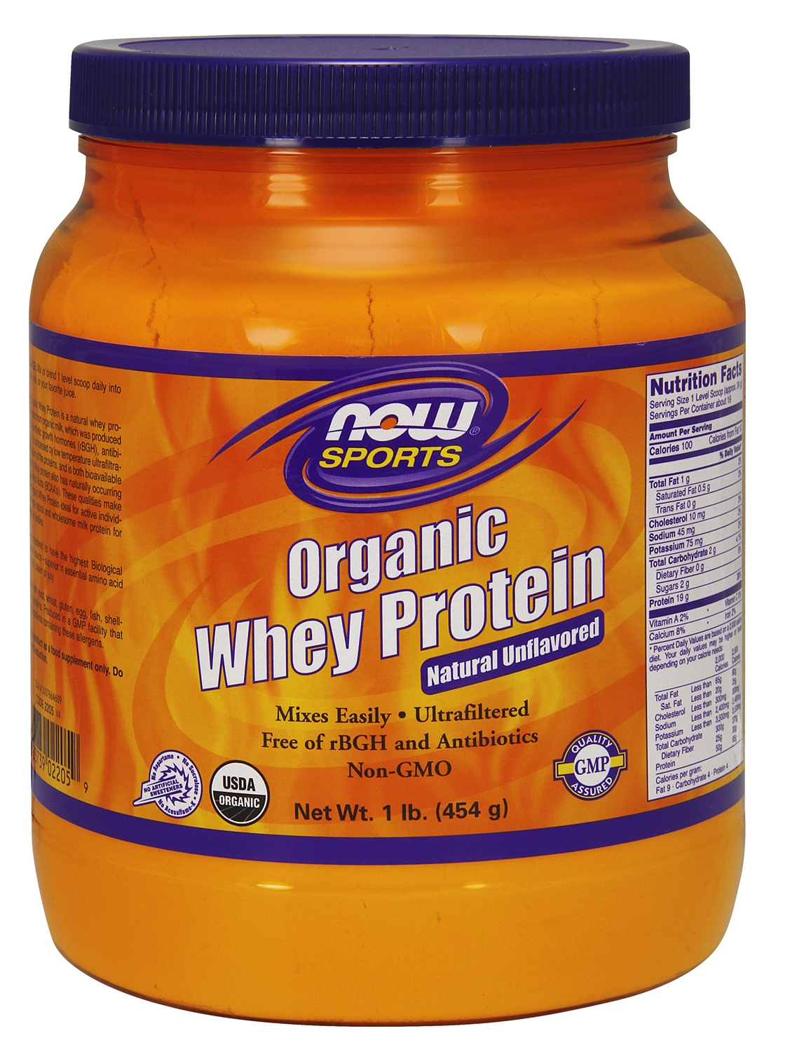 Whey Protein Certified Organic Natural Unflavored 1 lb (454 g) by NOW
