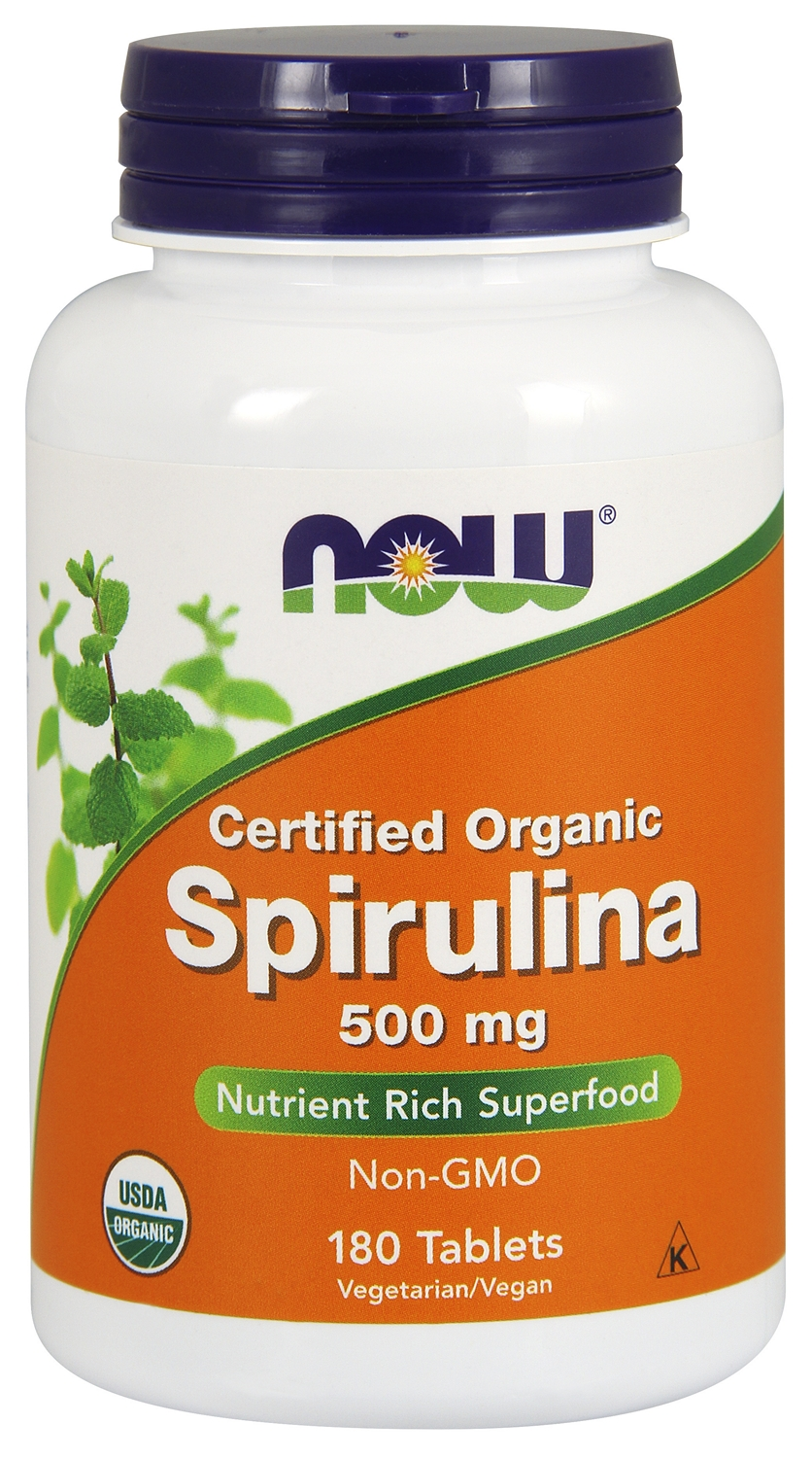 Spirulina Certified Organic 500 mg 180 tabs by NOW