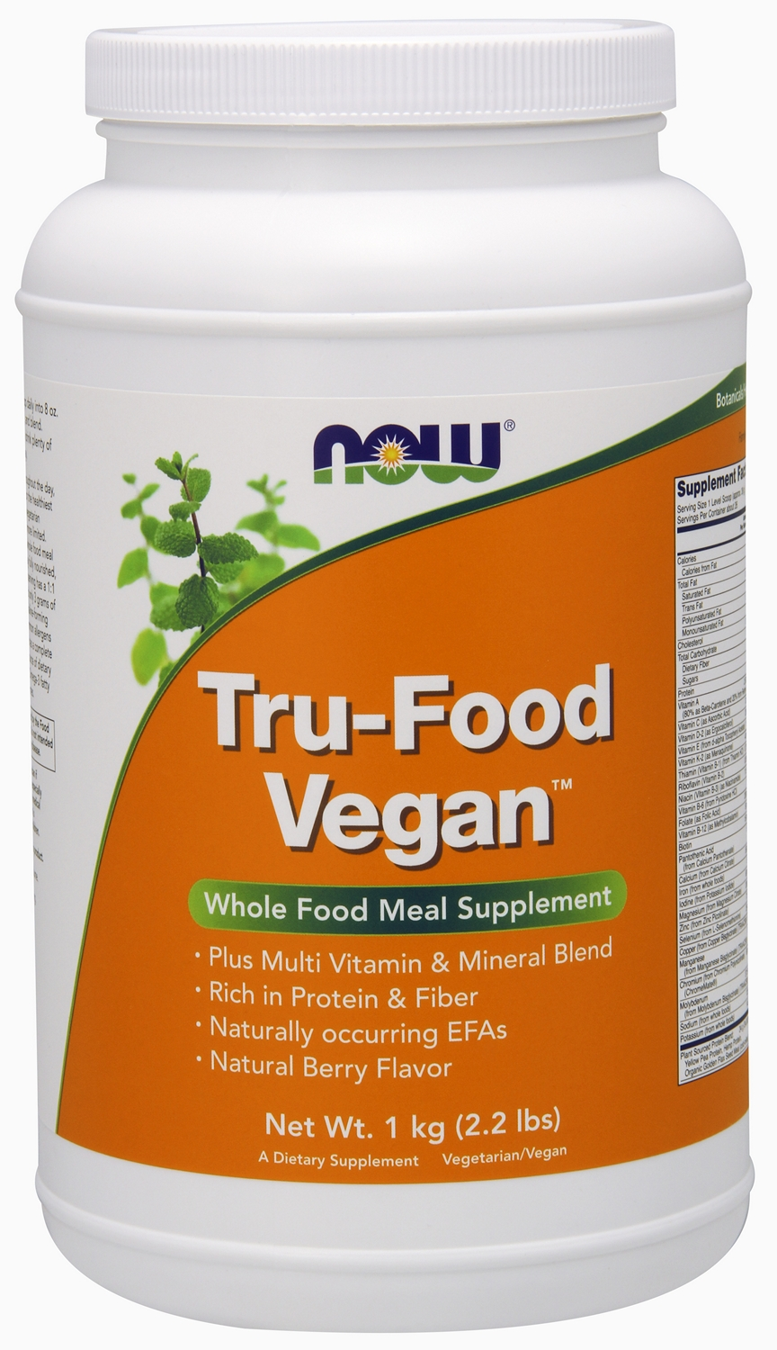 Tru-Food Vegan Natural Berry Flavor 1 kg (2.2 lbs) by NOW