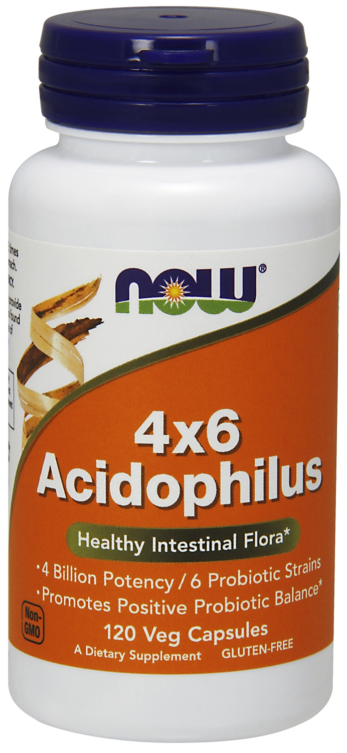 4 x 6 Acidophilus 120 caps by NOW