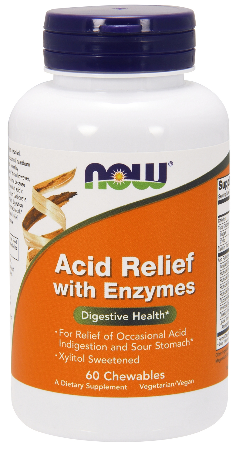 Acid Relief with Enzymes 60 Chewable tabs by NOW Foods