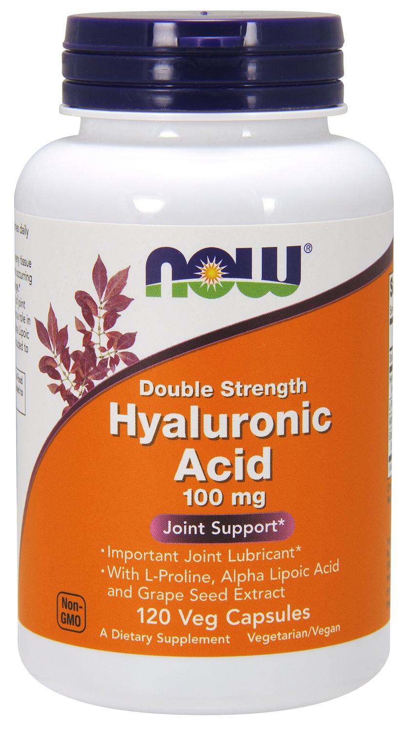 Hyaluronic Acid Double Strength 100 mg 120 Veg caps by NOW Foods