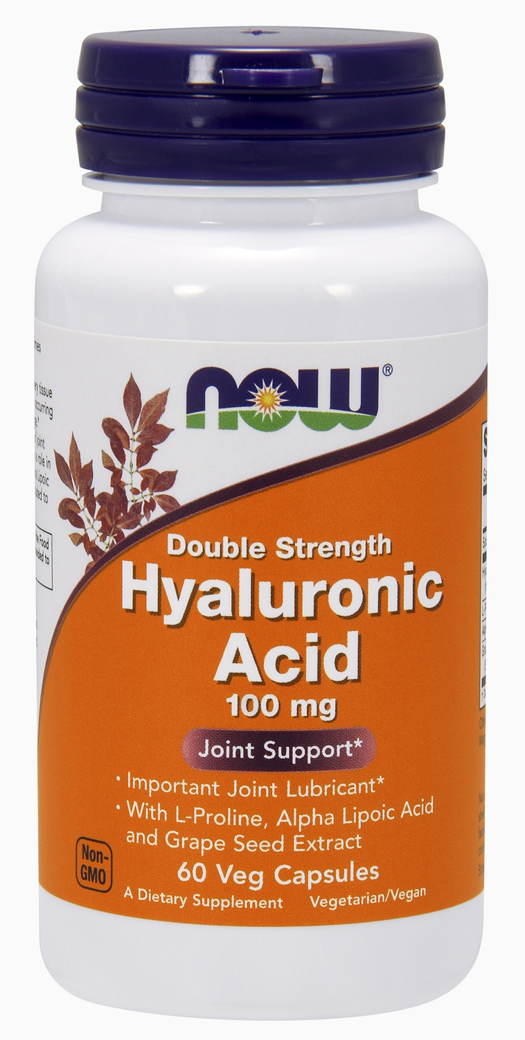 Hyaluronic Acid Double Strength 100 mg 60 Vcaps by NOW