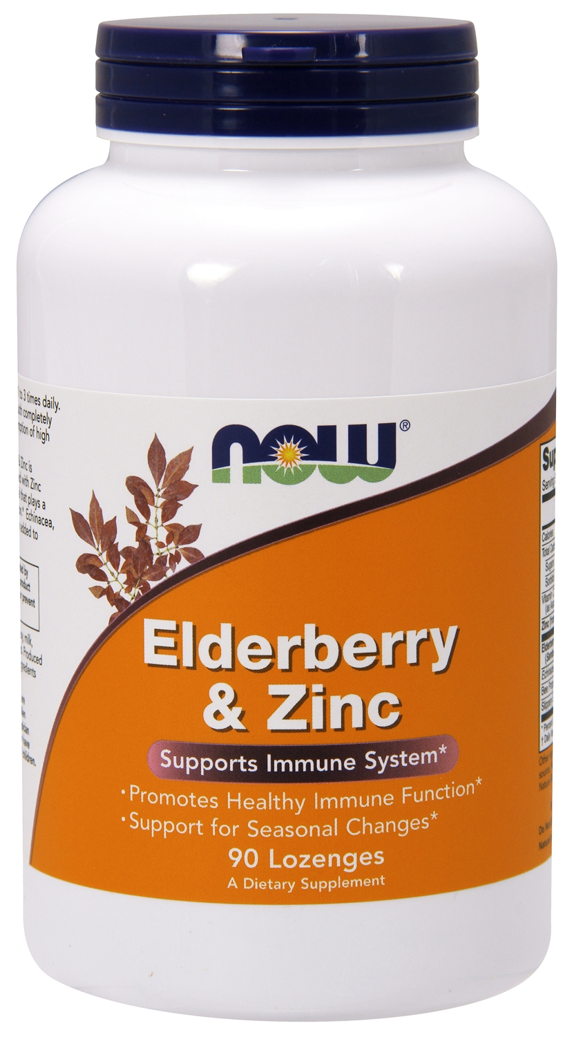 Elderberry and Zinc 90 Lozenges by NOW