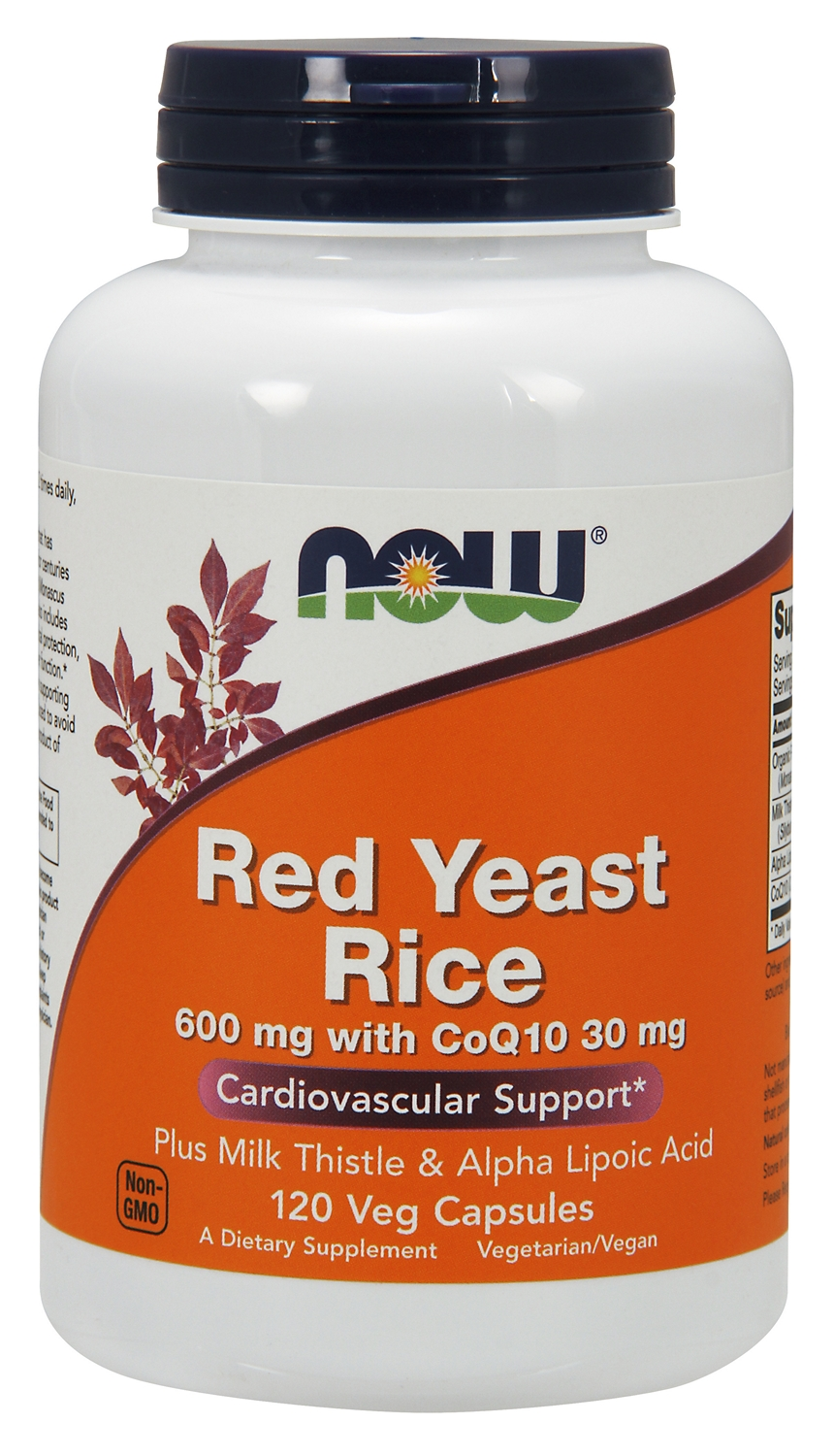 Red Yeast Rice 600 mg with CoQ10 30 mg 120 Vcaps by NOW