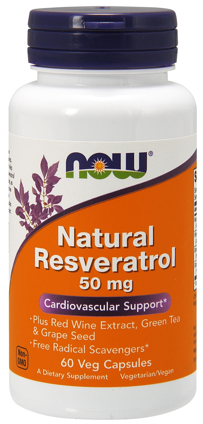 Natural Resveratrol 50 mg 60 Vcaps by NOW