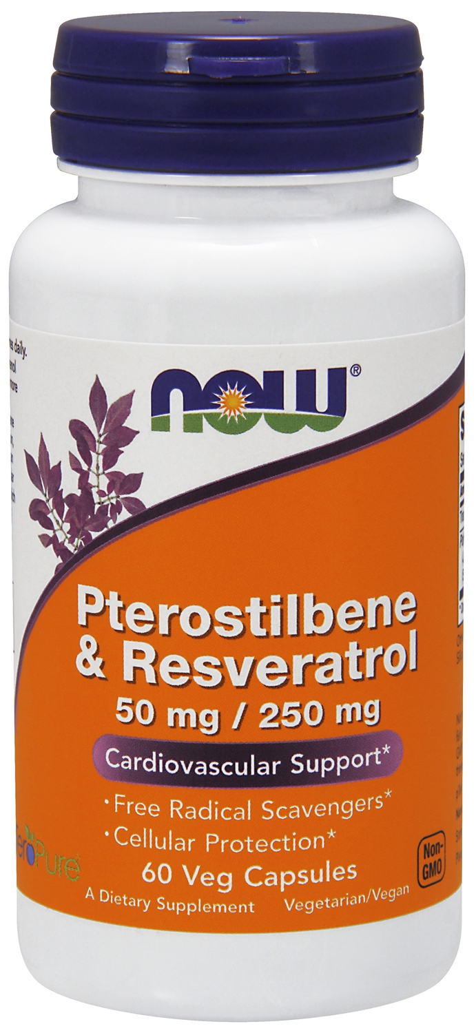 Pterostilbene & Resveratrol 50 mg/250 mg 60 Veg caps by NOW Foods