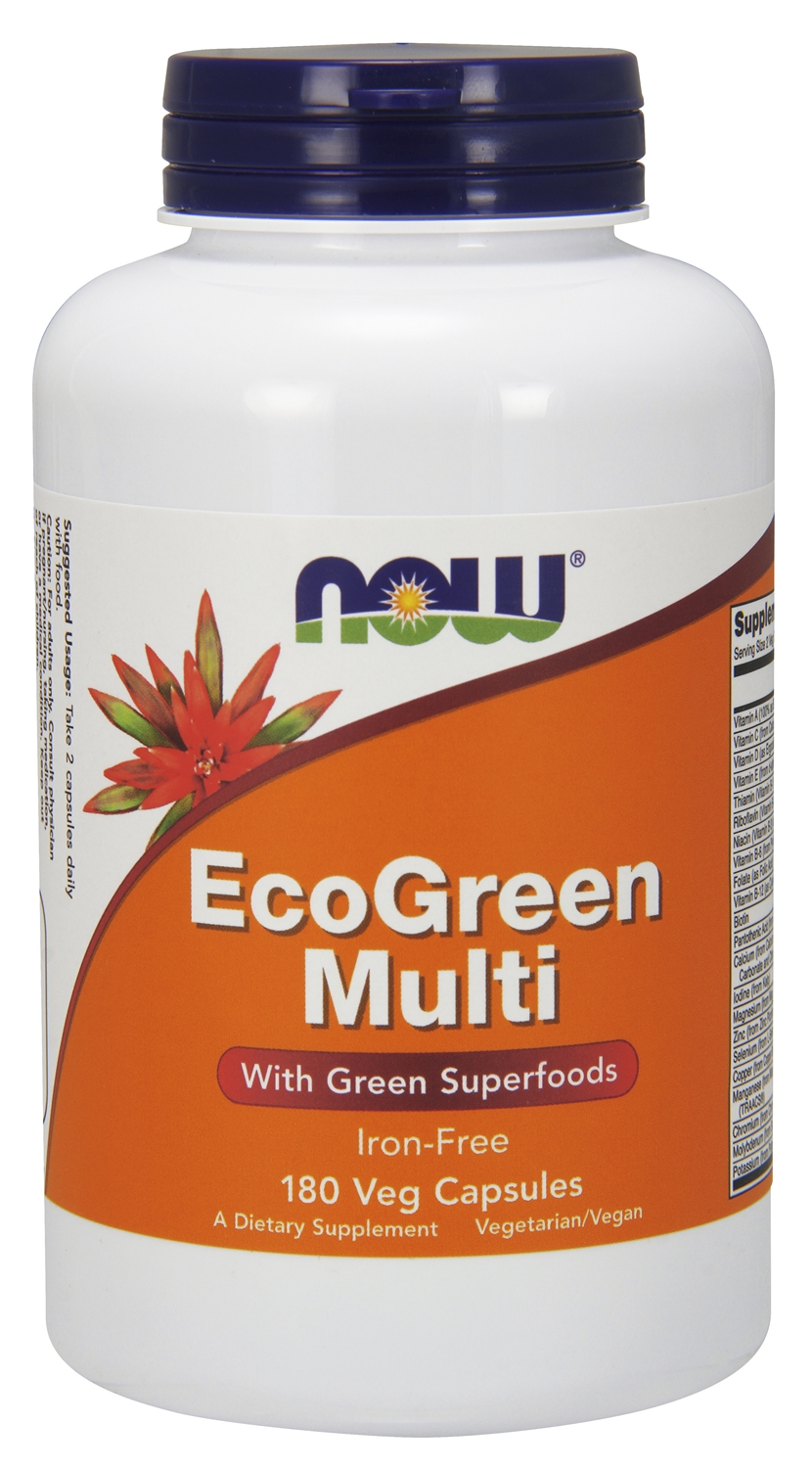 Eco-Green Multi Iron-Free 180 Vcaps by NOW
