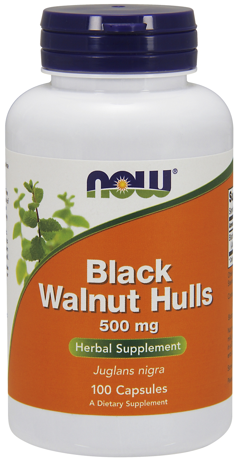 Black Walnut Hulls 500 mg 100 caps by NOW