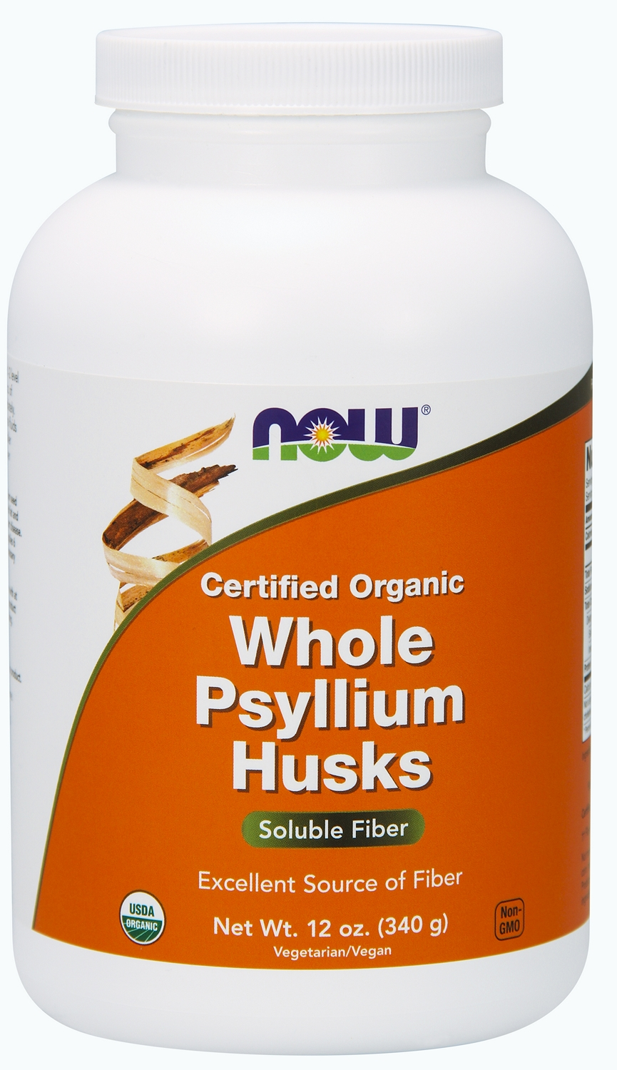 Whole Psyllium Husks 100% Certified Organic 12 oz (340 g) by NOW
