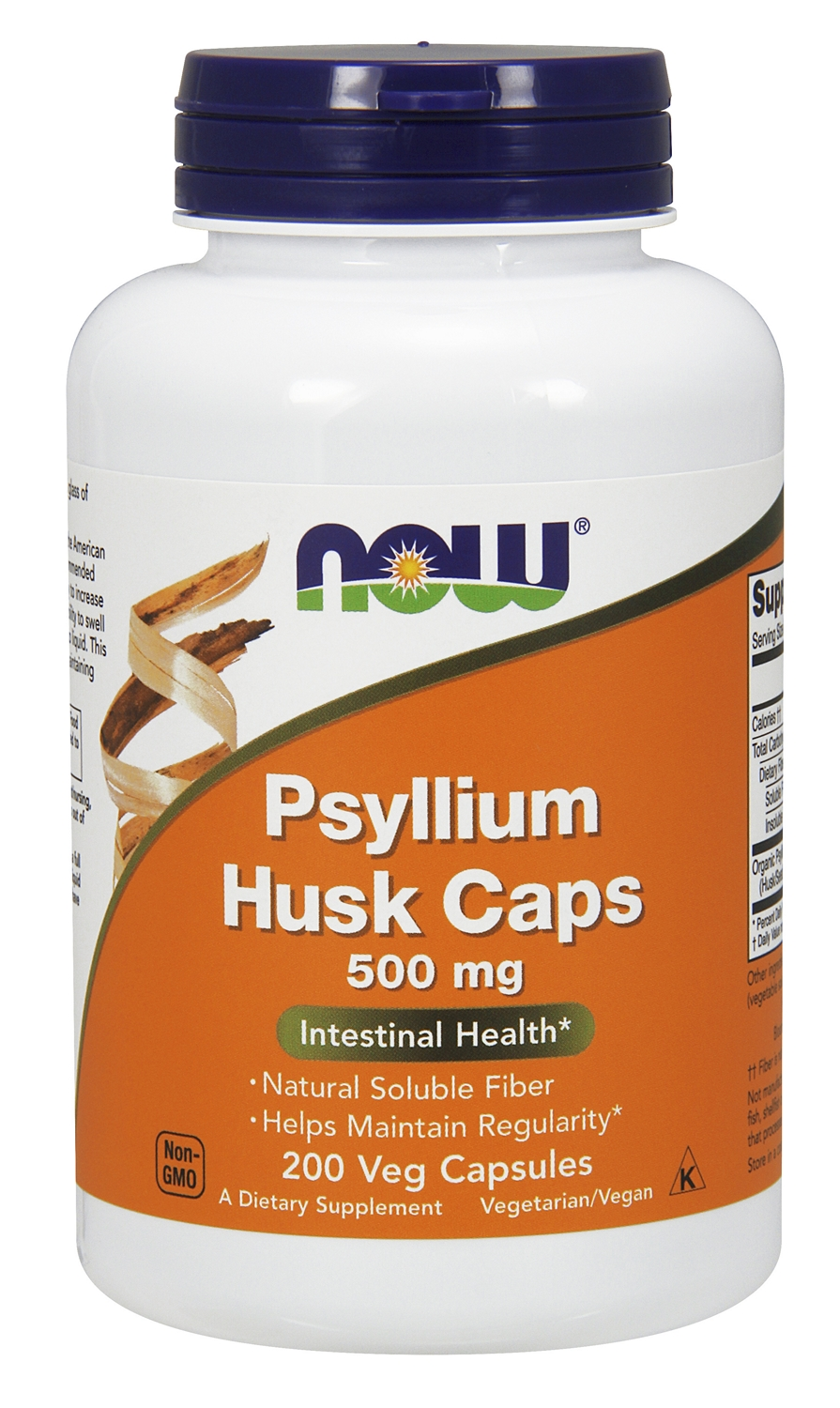 Psyllium Husk Caps 500 mg 200 caps by NOW