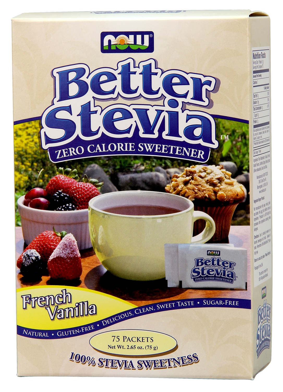 Better Stevia French Vanilla 75 Packets by NOW