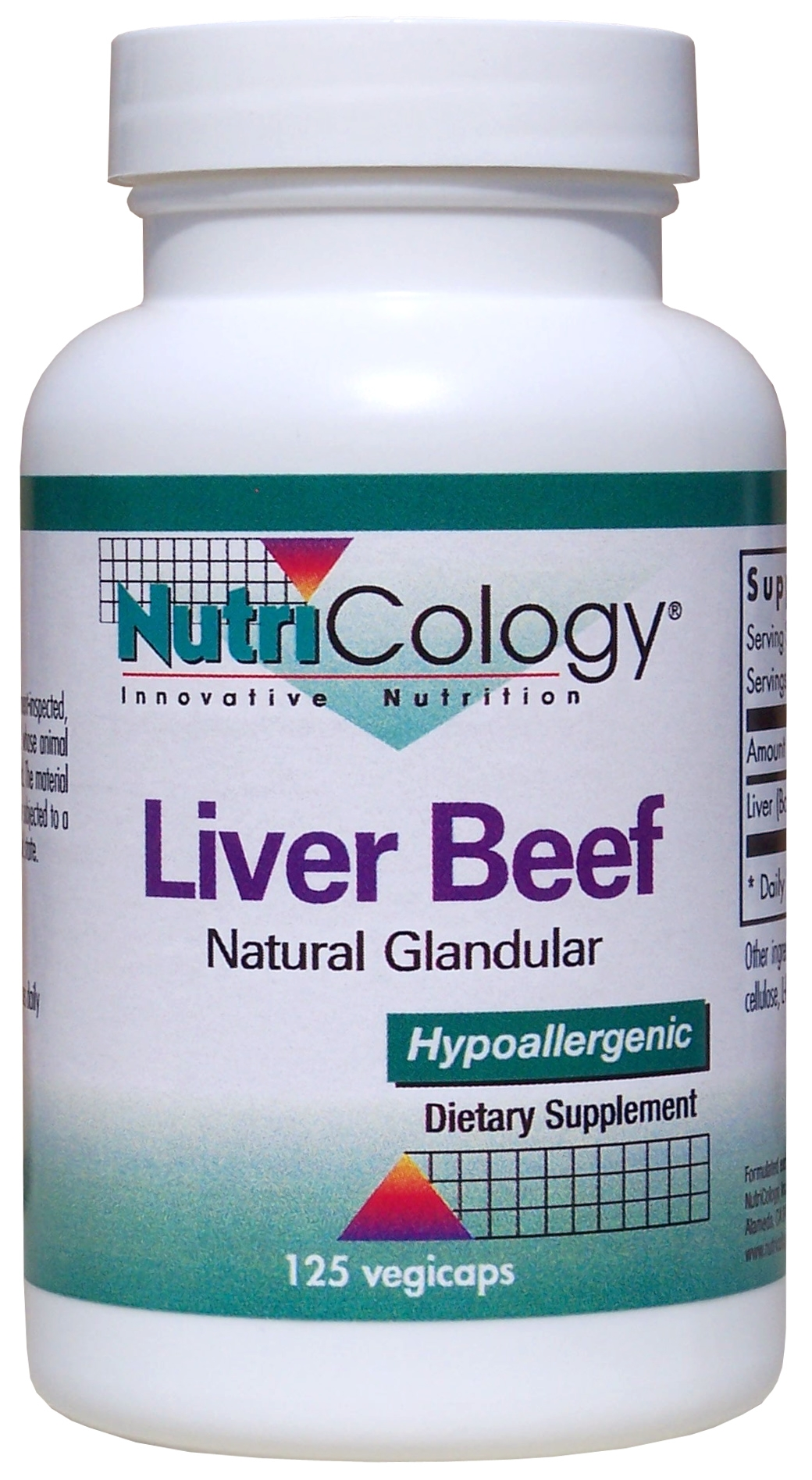 Liver Beef Natural Glandular 125 Vegicaps by Nutricology