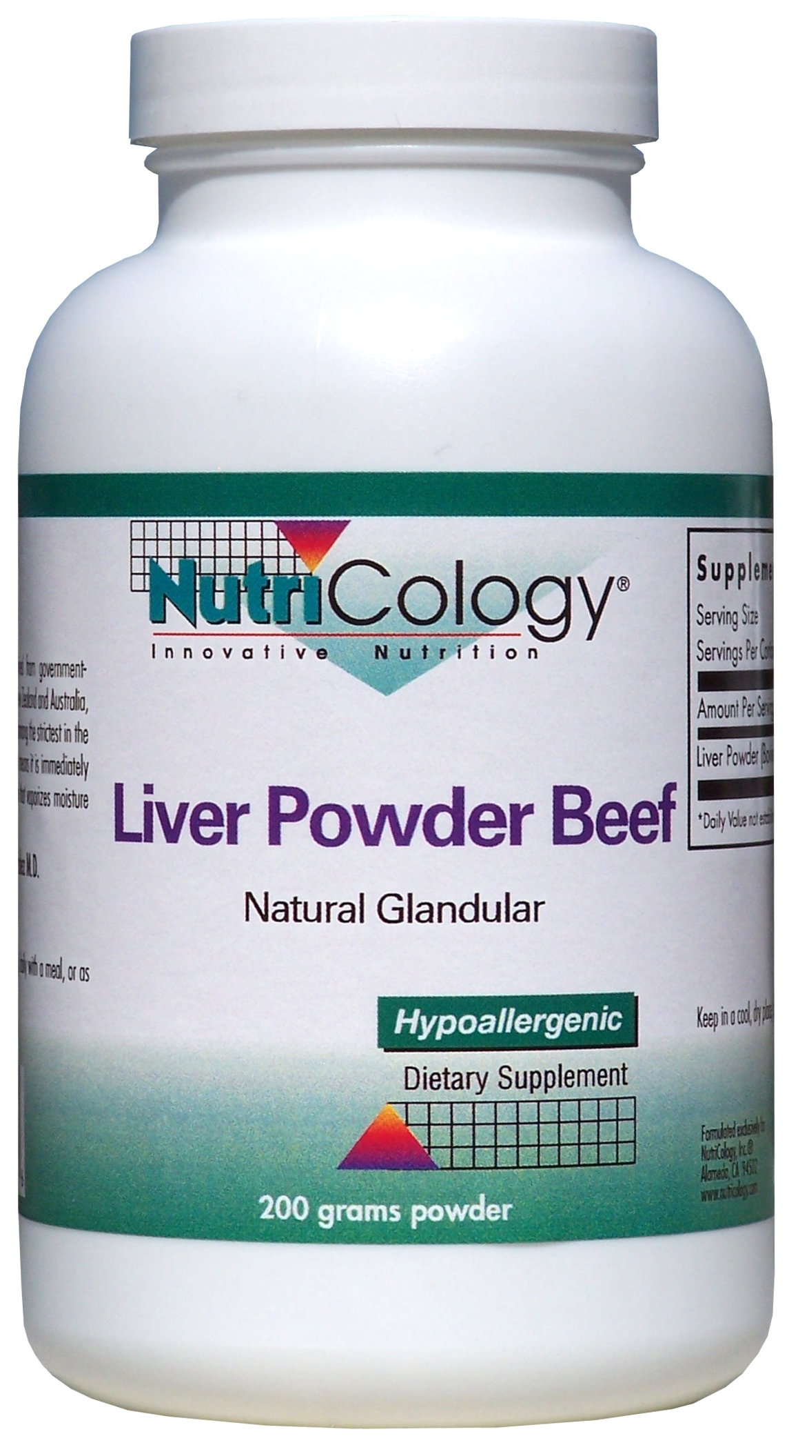 Liver Powder Beef Natural Glandular 200 Grams by Nutricology