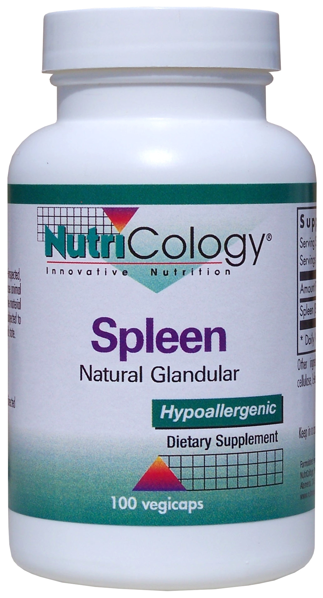 Spleen Natural Glandular 100 Vegicaps by Nutricology