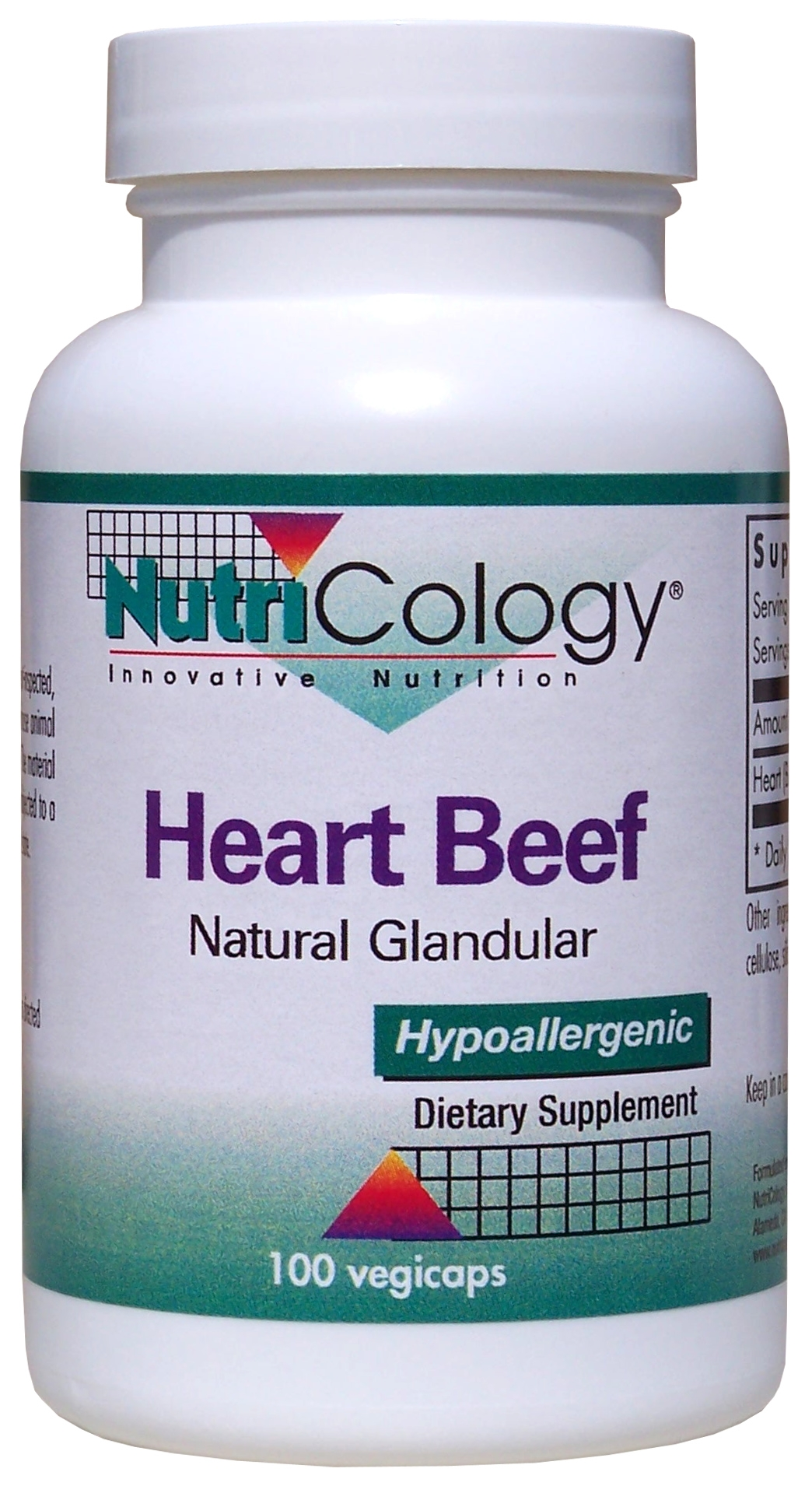 Heart Beef Natural Glandular 100 Vegicaps by Nutricology