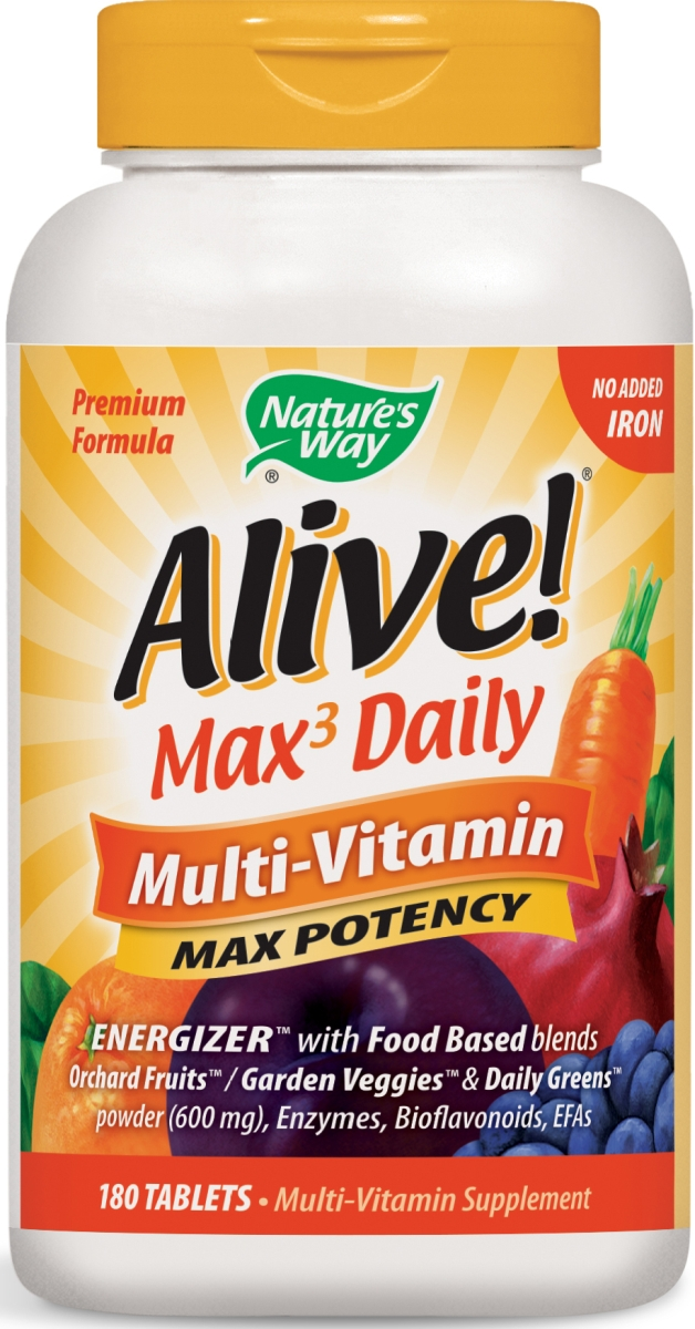 Alive! Multi-Vitamin Max Potency No Added Iron 180 tabs by Nature's Way