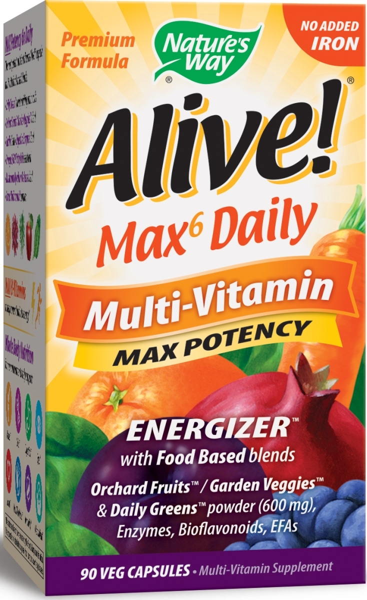 Alive! Multi-Vitamin Max Potency No Added Iron 90 Vcaps by Nature's Way