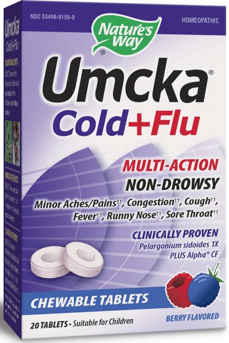 Umcka Cold & Flu Relief Berry Flavor 20 Chewable tabs by Nature's Way