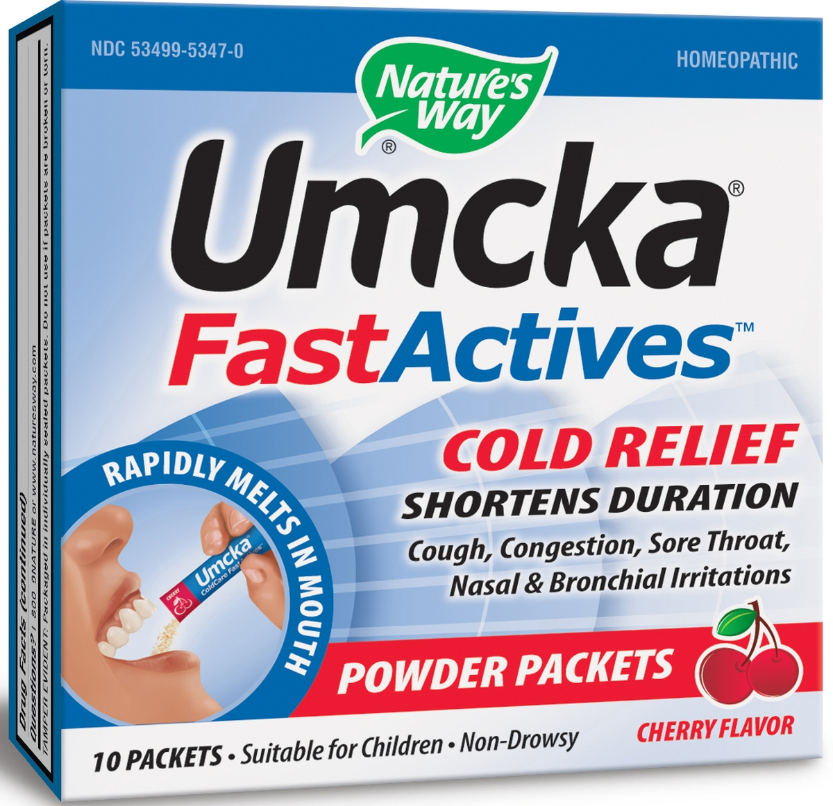 Umcka FastActives Cold Relief Cherry Flavor 10  Packets by Nature's Way
