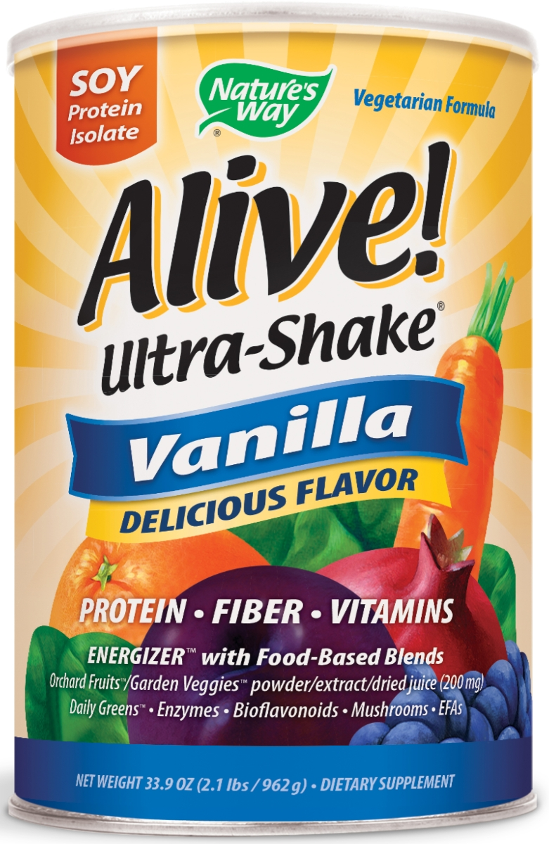 Alive! Ultra-Shake Soy Protein Vanilla Flavor 34 oz (975 g) by Nature's Way