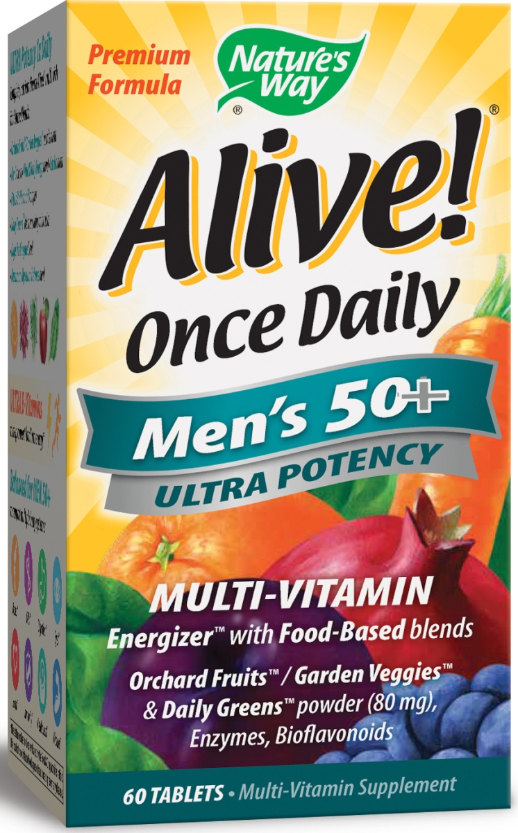 Alive! Once Daily Men's 50+ Ultra Potency Multi-Vitamin 60 tabs by Nature's Way