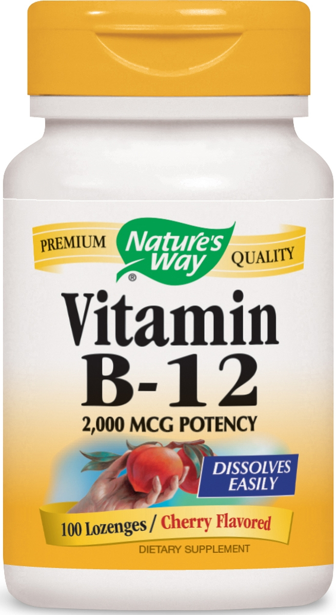 Vitamin B-12 Natural Cherry Flavor 2,000 mcg 100 Lozenges by Nature's Way