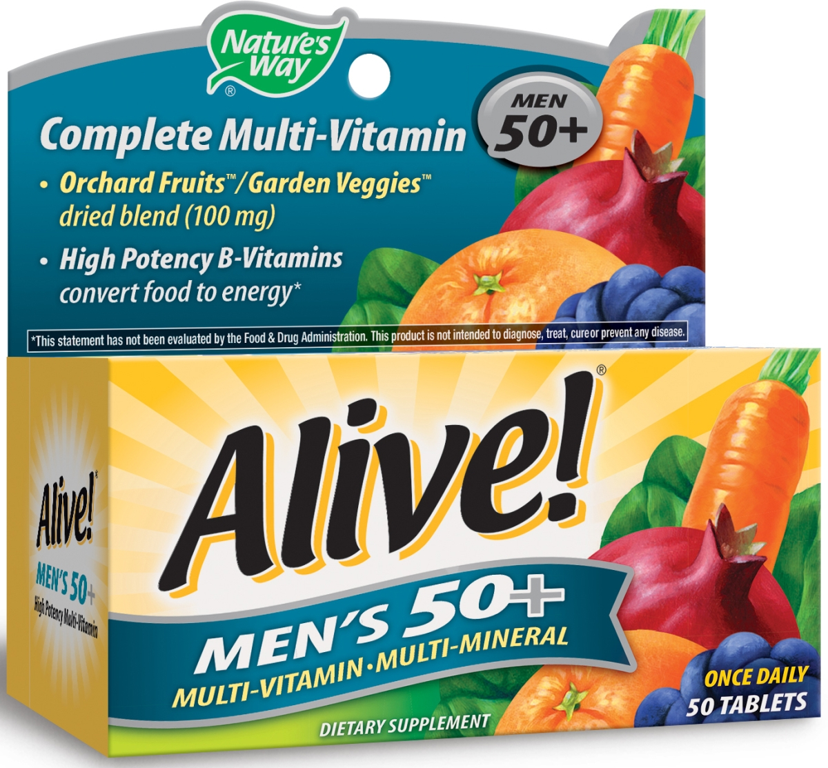 Alive! Men's 50+ Multivitamin-Multimineral 50 tabs by Nature's Way