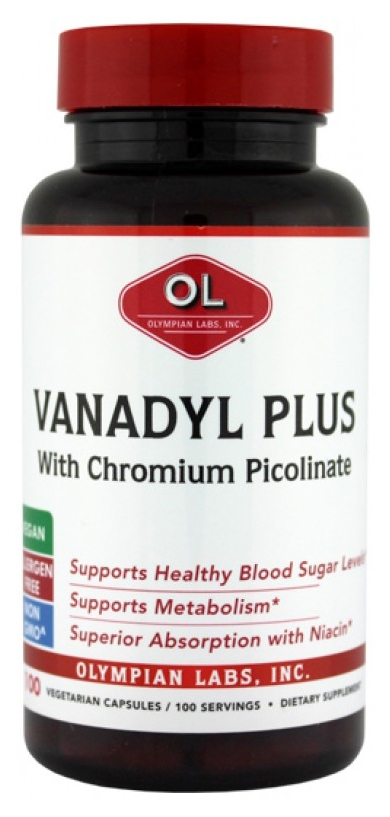 Vanadyl Plus 100 caps by Olympian Labs (expires 07/2015)