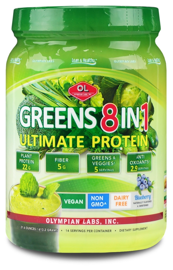 Ultimate Greens Protein 8 in 1 w/ Hemp Protein 1 lb 3 oz (546 g) by Olympian Labs