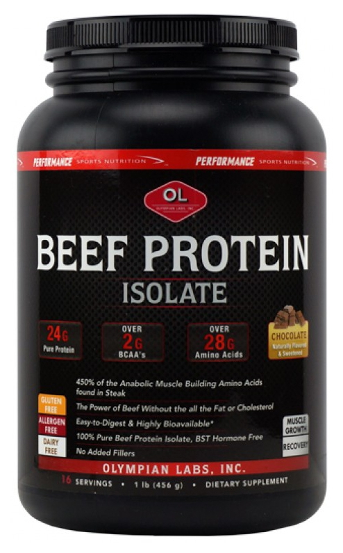 Beef Protein Chocolate 1 lb (453.6 g) by Olympian Labs