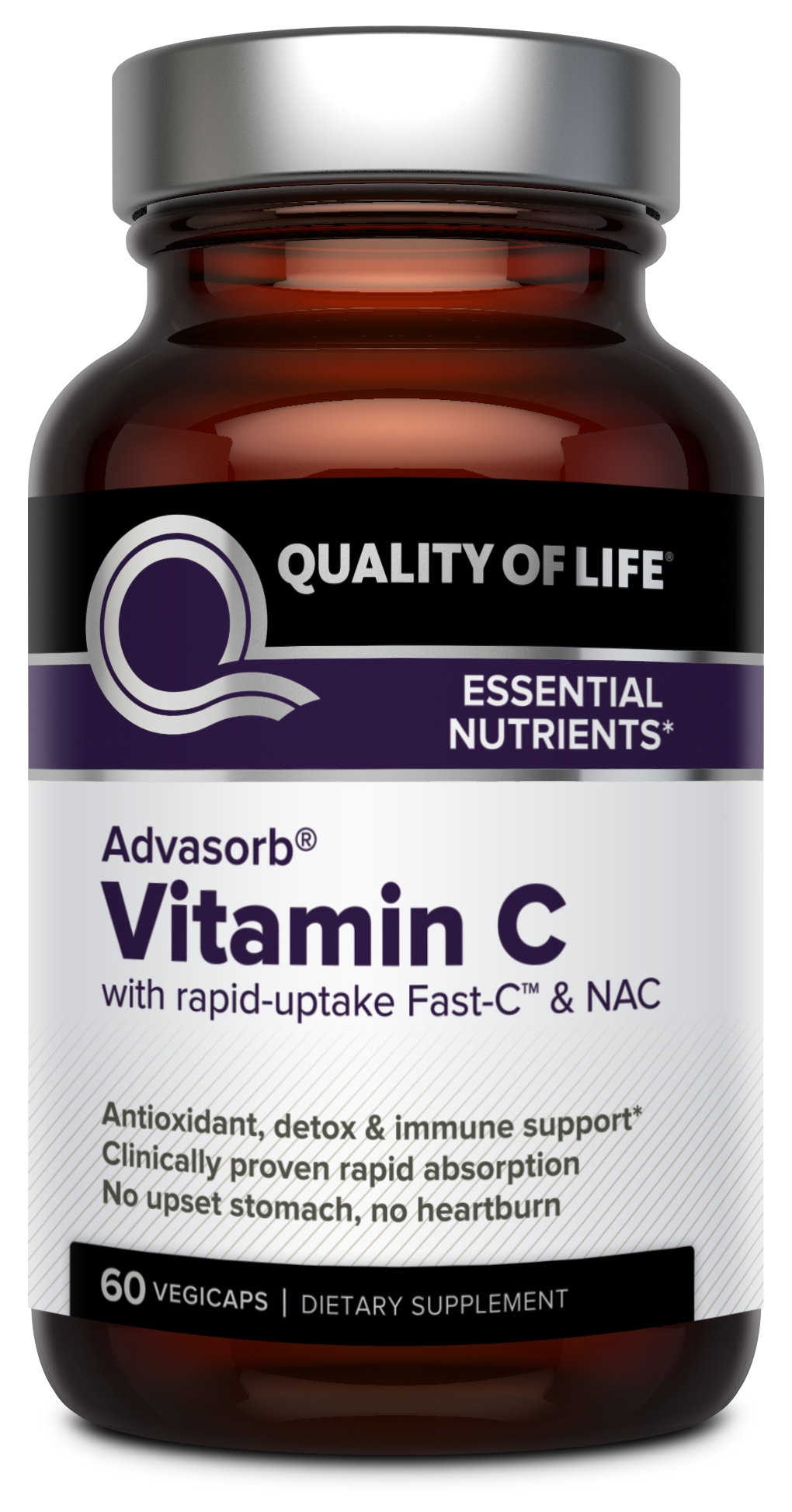 Advasorb Vitamin C 60 Vegicaps by Quality of Life Labs