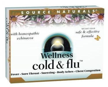 Wellness Cold & Flu 48 Homeopathic tabs by Source Naturals