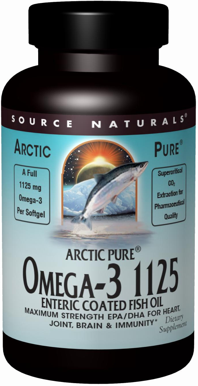 ArcticPure Omega-3 1125 Enteric Coated Fish Oil 120 sgels by Source Naturals
